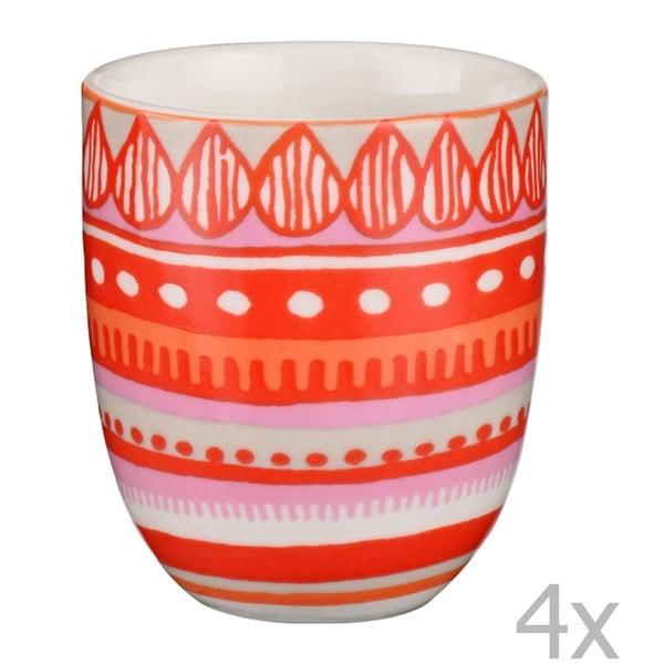 Sada 4 porcelánových šálok na espresso Oilily 80 ml, červená