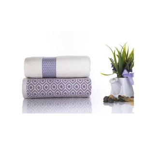 Sada 2 bavlnených fialovo-bielych uterákov Ladik Alice, 50 x 90 cm
