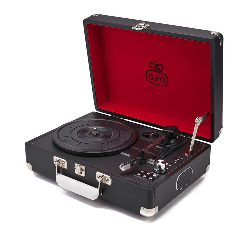 Čierny gramofón s rádiom GPO Attache Black
