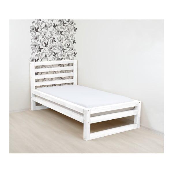Biela drevená jednolôžková posteľ Benlemi DeLuxe, 190 × 90 cm