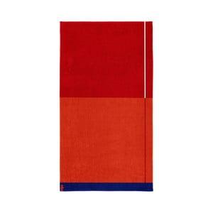 Červená bavlnená osuška Seahorse Block, 180×100cm