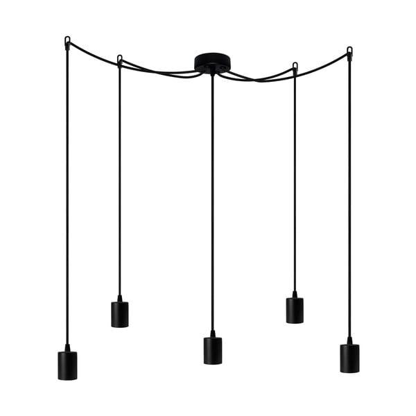 Závesné svietidlo s 5 čiernymi káblami a čiernou objímkou Bulb Attack Cero