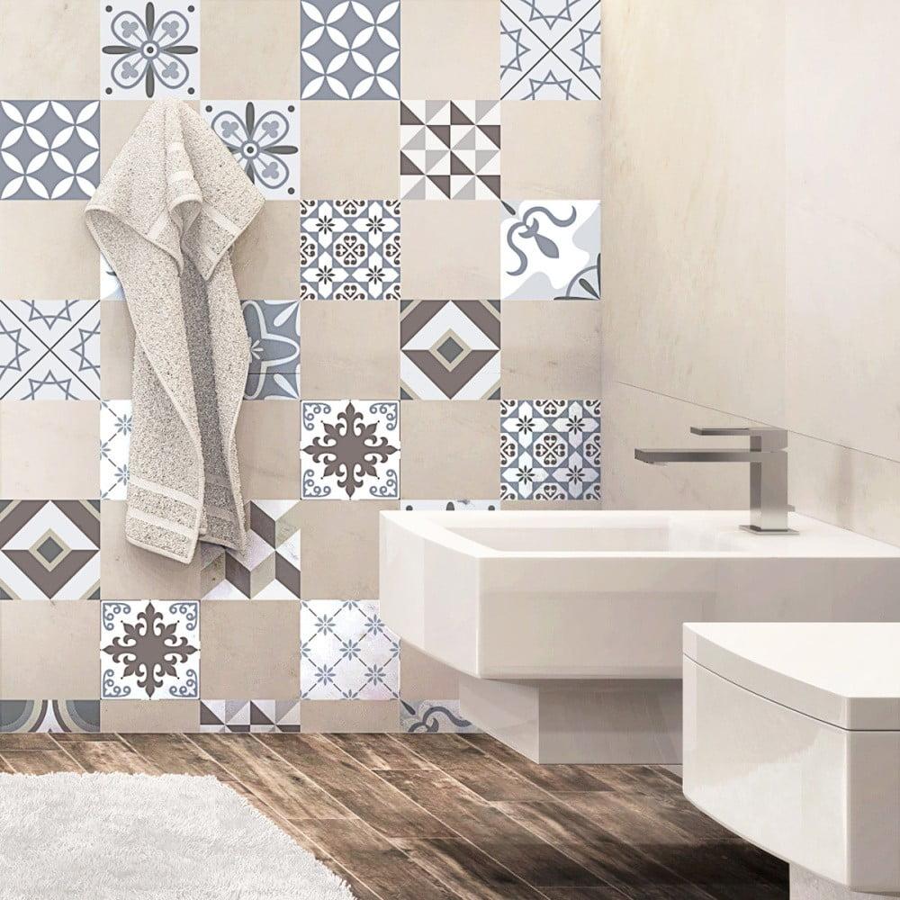 Sada 24 dekoratívnych samolepiek na stenu Ambiance Mosaic Portugal,10 × 10 cm