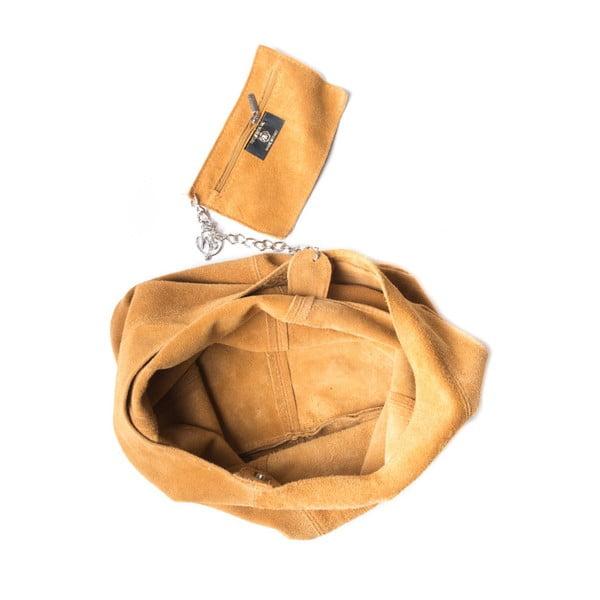 Koňakovohnedá kožená kabelka Roberta M 885