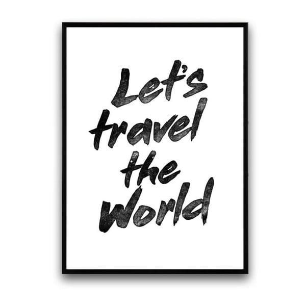 Plagát v drevenom ráme Lets travel, 38x28 cm