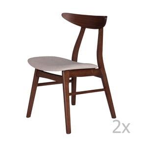 Sada 2 jedálenských stoličiek z kaučukovníkového dreva s béžovým podsedákom sømcasa Salma