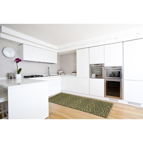 Vysokoodolný kuchynský koberec Hellenic Green, 60x220 cm
