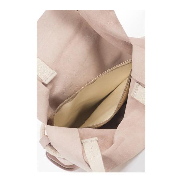 Púdrovobéžová kožená kabelka Giulia Massari Darcy