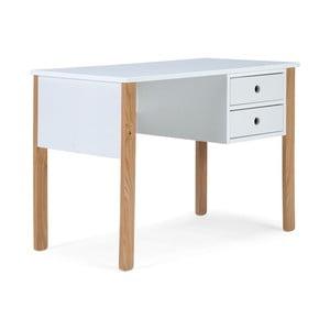 Biely pracovný stôl z borovicového dreva SOB Indike