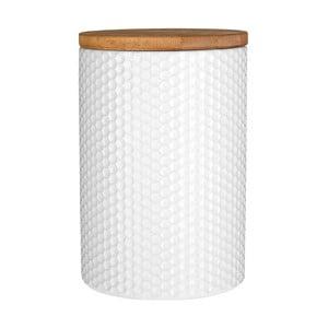 Biela dóza s bambusovým vrchnákom Premier Housewares, ⌀ 10 cm