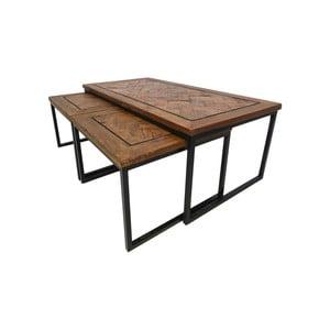 Sada 3 príručných stolíkov z recyklovaného dreva HSM collection Bradley
