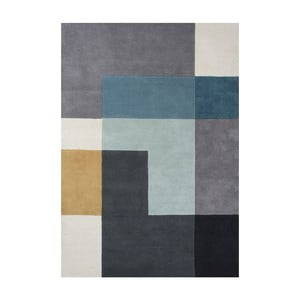 Vlnený koberec Tetris Aqua, 170x240 cm