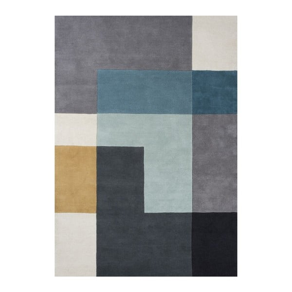Vlnený koberec Tetris Aqua, 140x200 cm