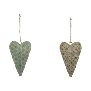 Sada 2 malých závesných dekorácií z posmaltovaného kovu s motívom srdca Ego Dekor Aqua, 5×10 cm