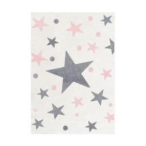 Biely detský koberec so sivými a ružovými hviezdami Happy Rugs Stars, 160×230cm