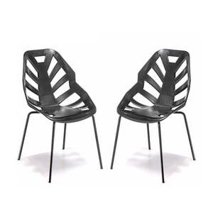 Set 2 čiernych stoličiek Ninja, lakované čierne nohy