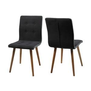 Sada 2 tmavě šedých jídelních židlí Actona Frida