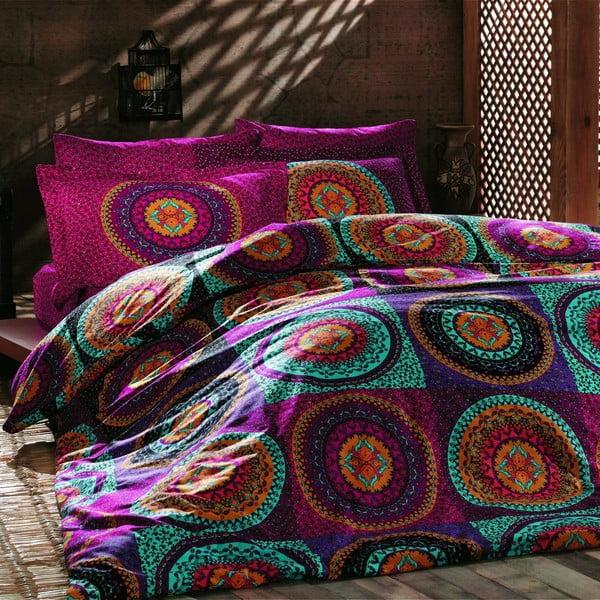 Bavlnené obliečky na dvojlôžko Gipsy s plachtou, 200 × 220 cm