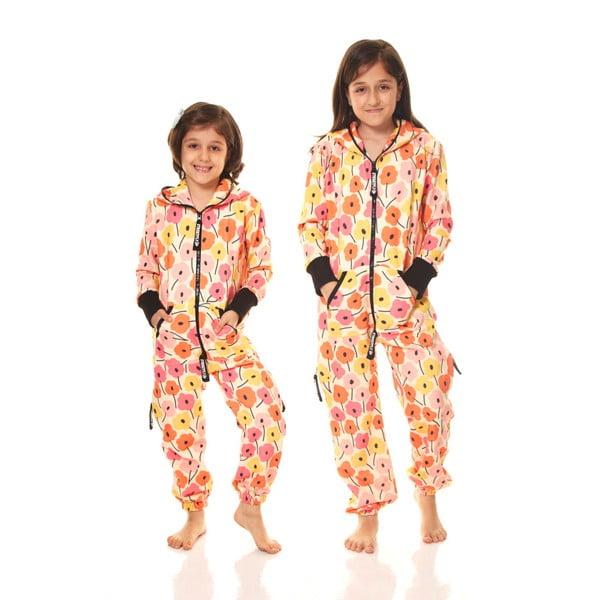 Oranžový detský domáci overal Streetfly, pre deti 8-9 rokov