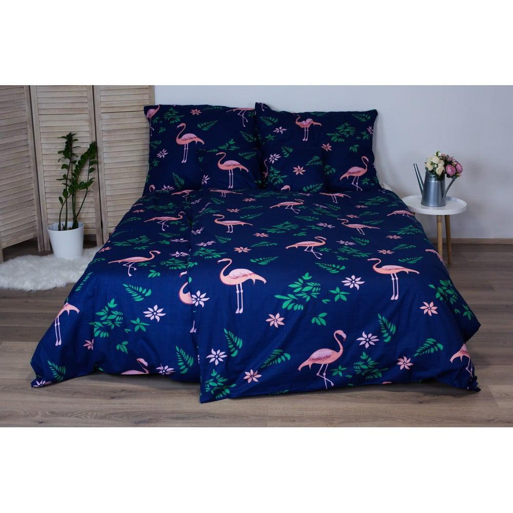 Tmavomodré bavlnené posteľné obliečky Cotton House Flamingo, 140 x 200 cm
