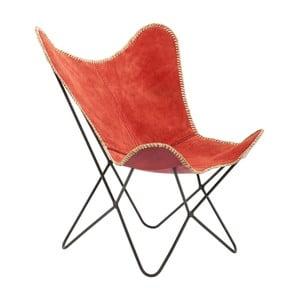 Červené kožené kreslo Kare Design Butterfly Wild