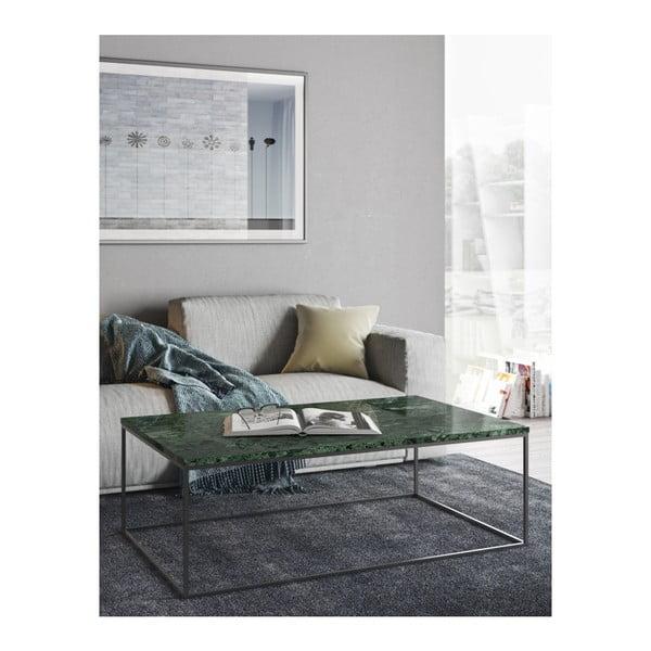 Konferenčný stolík s chrómovaným podnožím a zelenú mramorovou doskou TemaHome Prairie, šírka 120cm