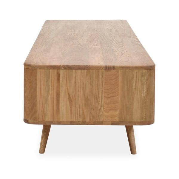 Televízny stolík z dubového dreva Ena, 225 x 55 x 45 cm