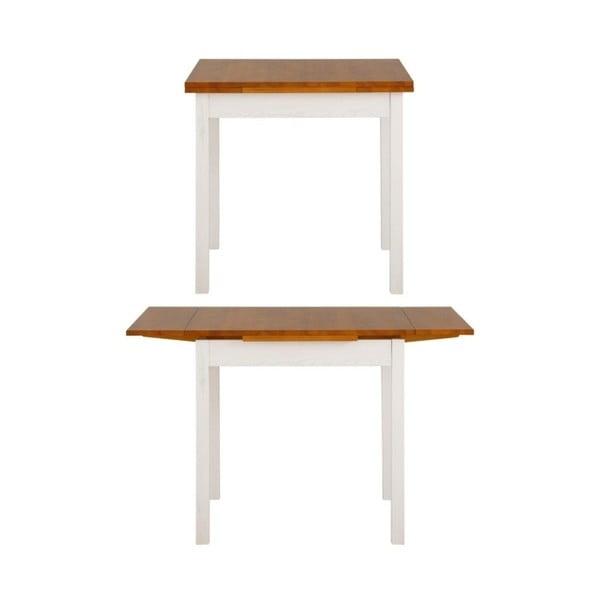 Biely rozkladací jedálenský stôl z borovicového dreva Støraa Marlon, 80 x 80 cm