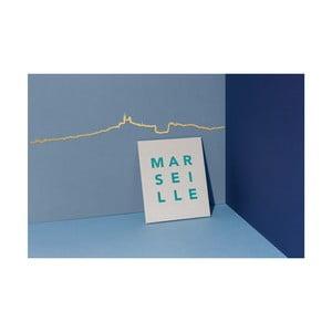 Pozlátená nástenná dekorácia so siluetou mesta The Line Marseille