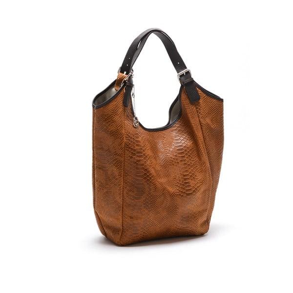 Kožená kabelka Carla Ferreri 887 Cognac