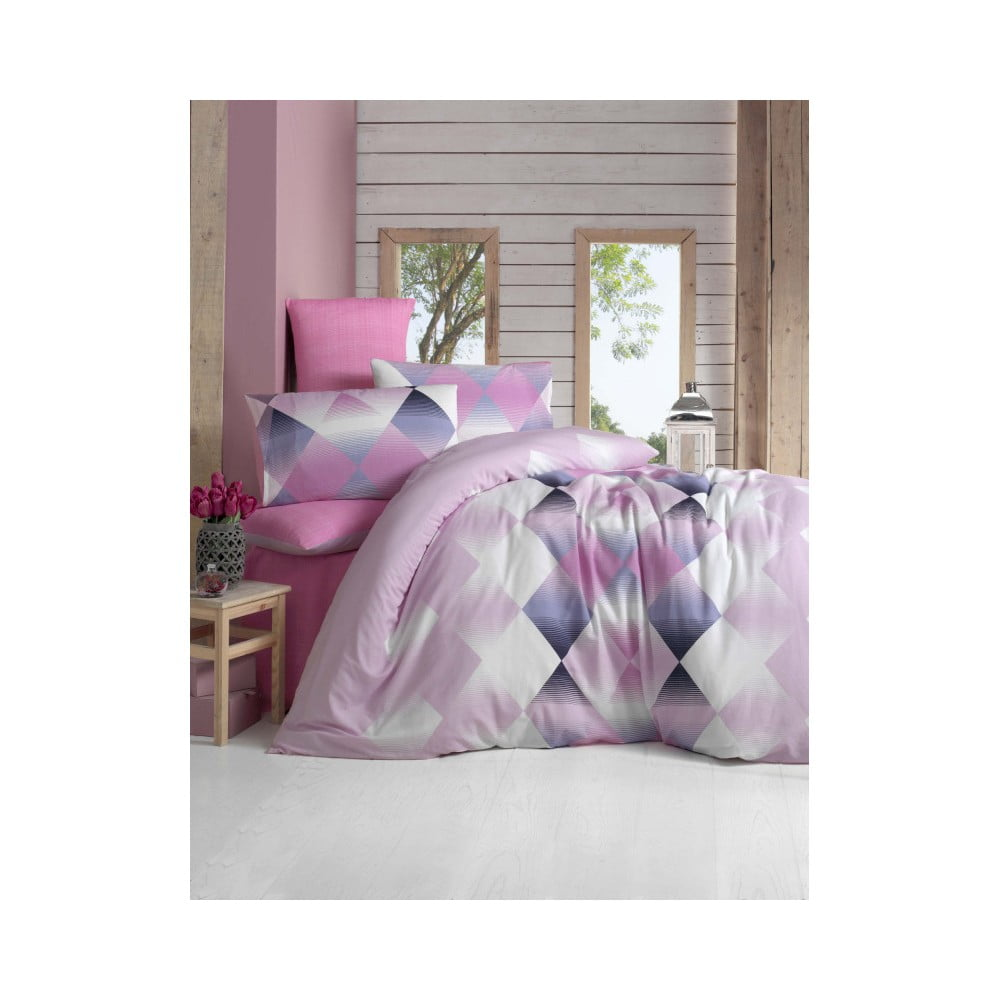 05eaf45c8710 Bavlnené obliečky s plachtou a 2 obliečky na vankúše Pitek 200 × 220 cm