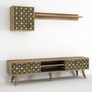 Set TV stolíka a 2 nástenných políc v dekore orechového dreva Ratto Valente