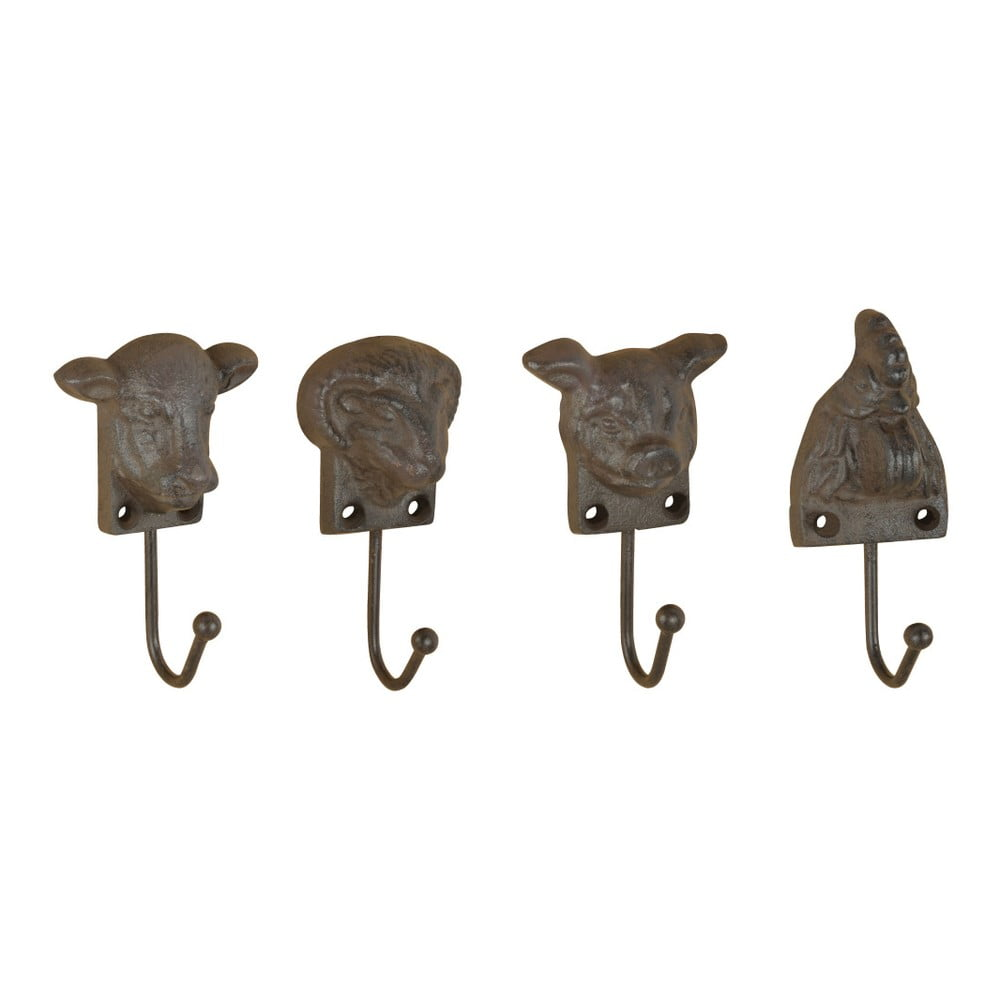 Sada 4 liatinových nástenných háčikov v tvare zvierat Esschert Design