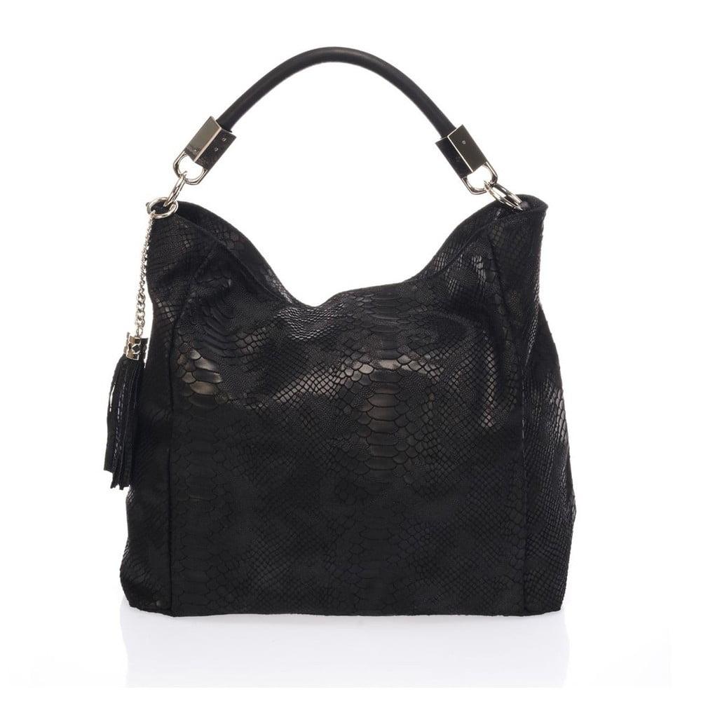 Čierna kožená kabelka Italia