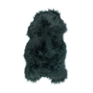 Tmavozelená ovčia kožušina s dlhým vlasom, 100 x 55 cm