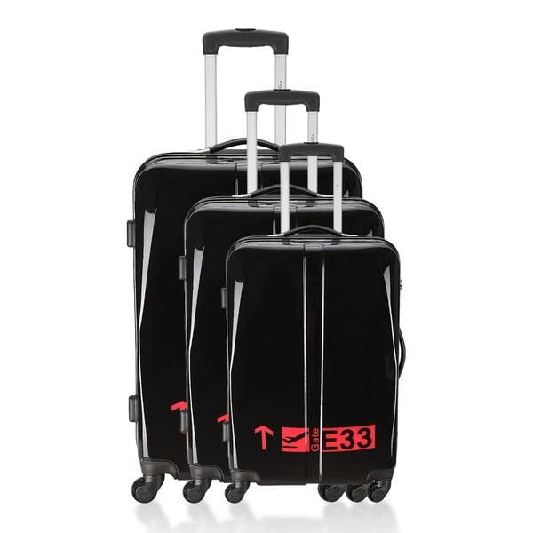 Sada 3 kufrov Integre Black/Pink
