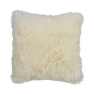Biely kožušinový vankúš s krátkym vlasom, 35x35cm