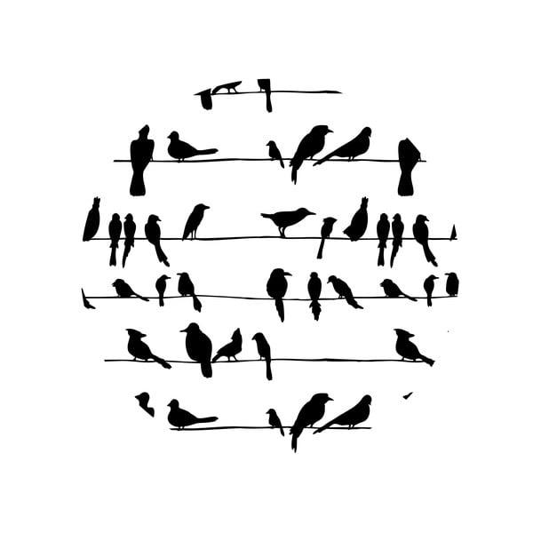Sada 2 odkladacích stolíkov Birds On Wire, 35 cm + 49 cm
