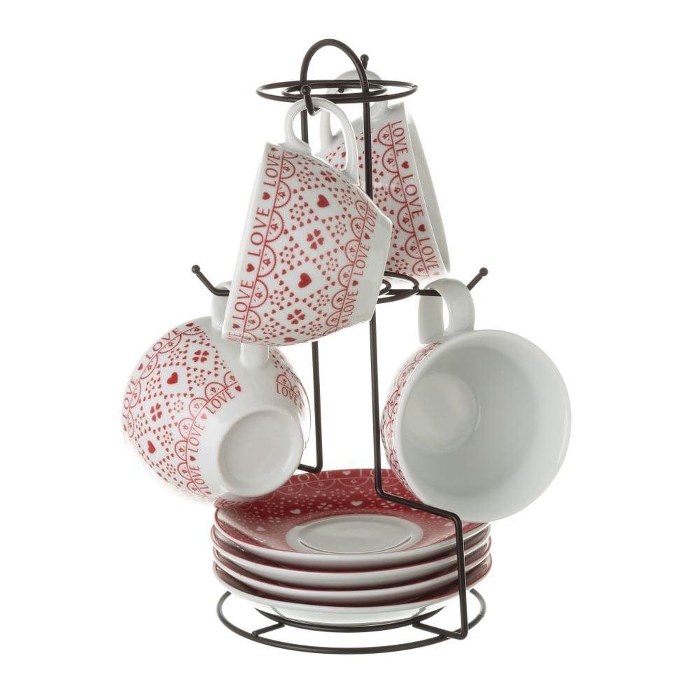Sada 4 porcelánových hrnčekov na čaj Unimasa Red and White