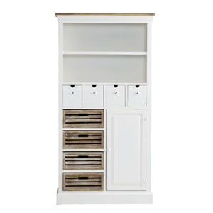 Knižnica so zásuvkami Charlston White, 88x169x34 cm