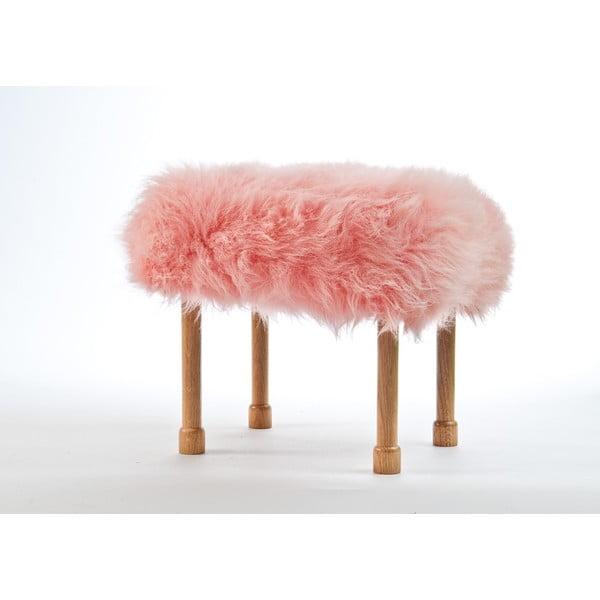 Stolička z ovčej kože Megan Baby Pink