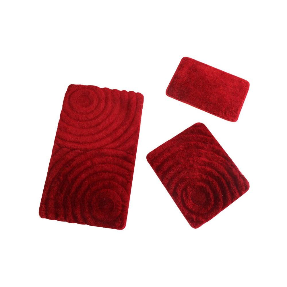 Set 3 červených kúpeľňových podložiek Fading