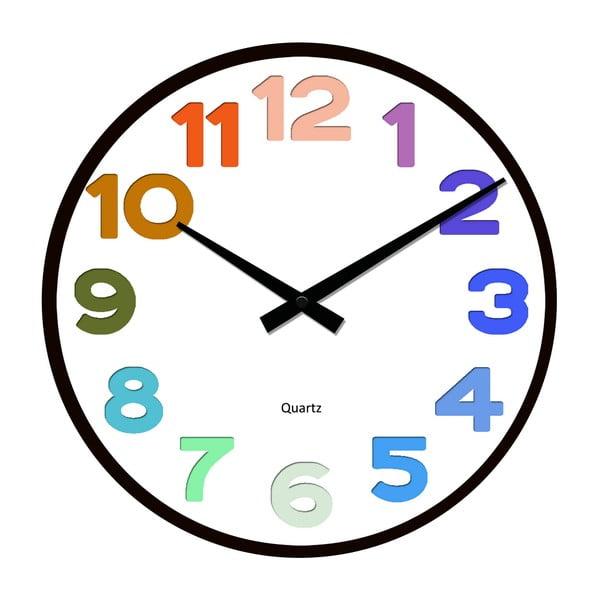 Sklenené hodiny Barevné číslování, 34 cm