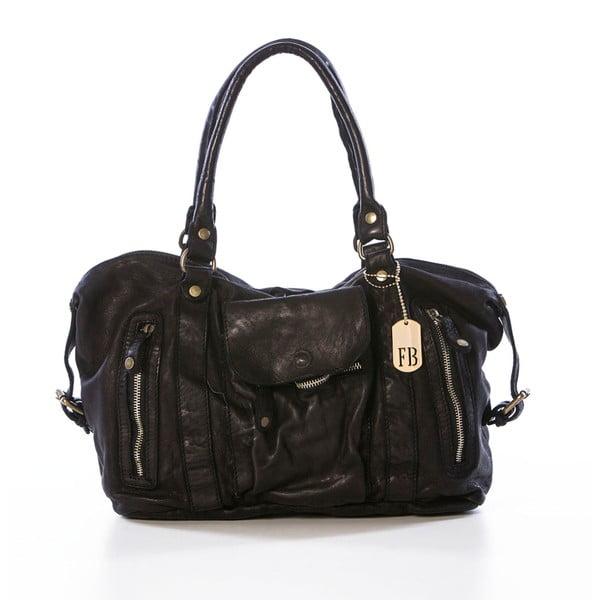 Čierna kožená kabelka Federica Bassi Gio