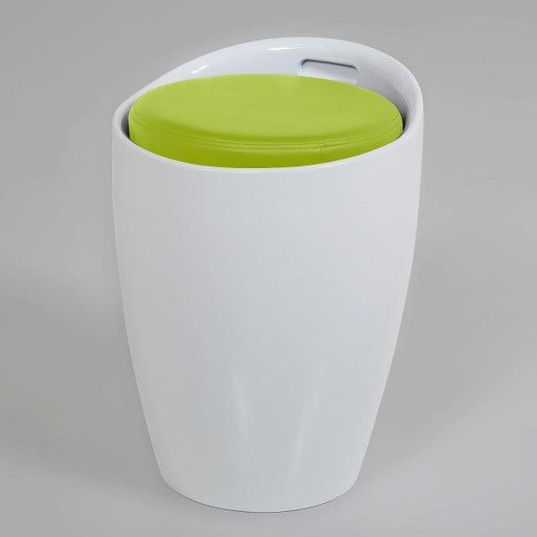 Bielo-zelená stolička s úložným priestorom Actona Minxie