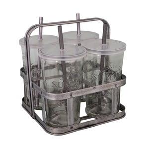 Set 4 sklenených pohárov so slamkou a košíkom na nápoje Antic Line