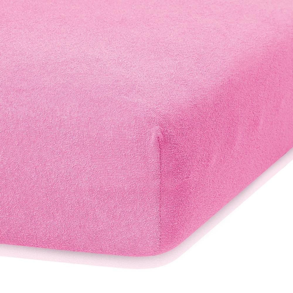 Tmavoružová elastická plachta s vysokým podielom bavlny AmeliaHome Ruby, 200 x 140-160 cm