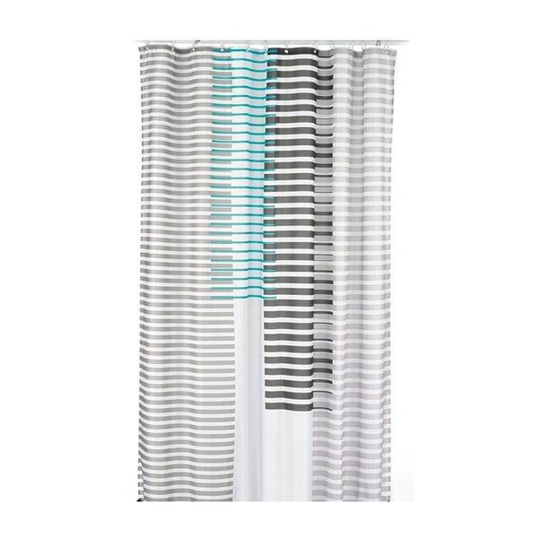 Sprchový záves Lamara, sivý/modrý, 180x200 cm