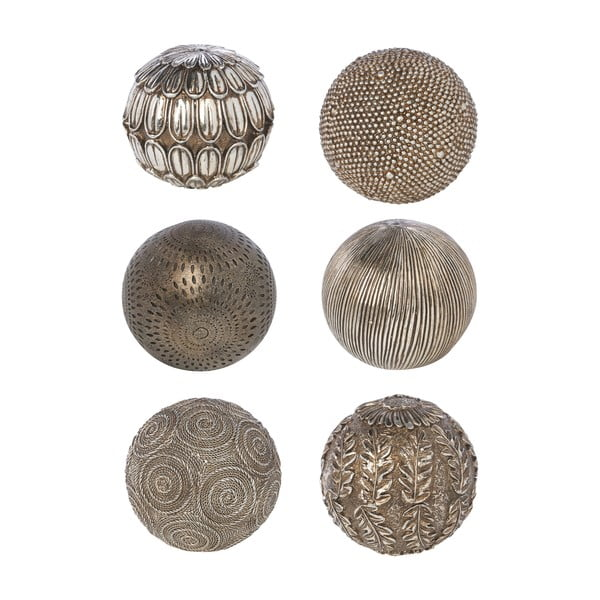 Sada 6 dekoratívnych gulí Bronze