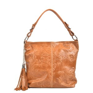 Tmavokoňakovo hnedá kožená kabelka Isabella Rhea Florea